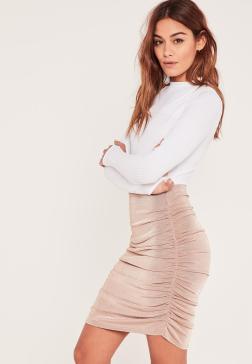 pink-slinky-ruched-side-knee-length-skirt.jpg
